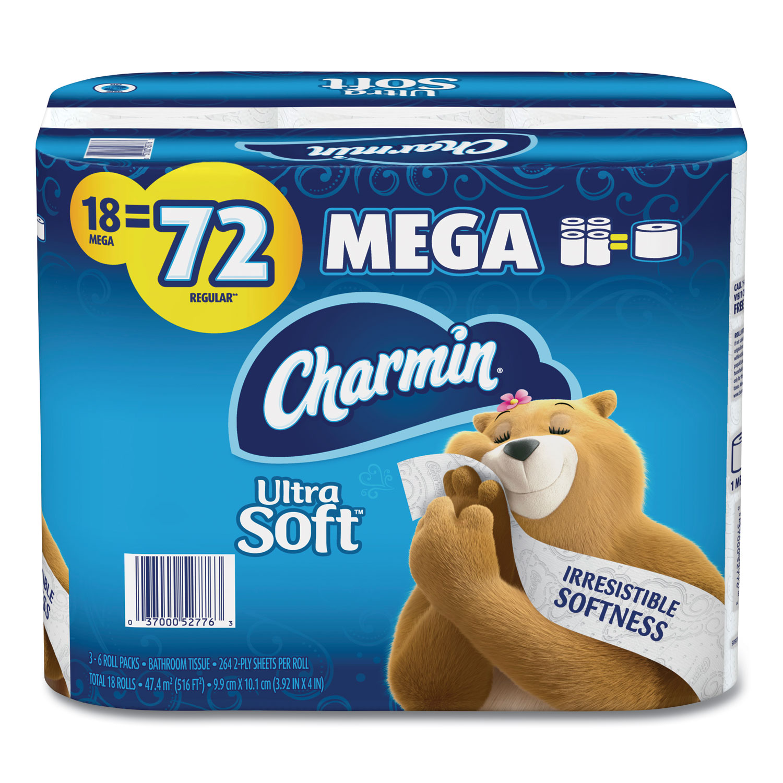 Charmin® Ultra Soft Bathroom Tissue, Septic Safe, 2-Ply, White, 4 x 3.92, 264 Sheets/Roll, 18 Rolls/Carton