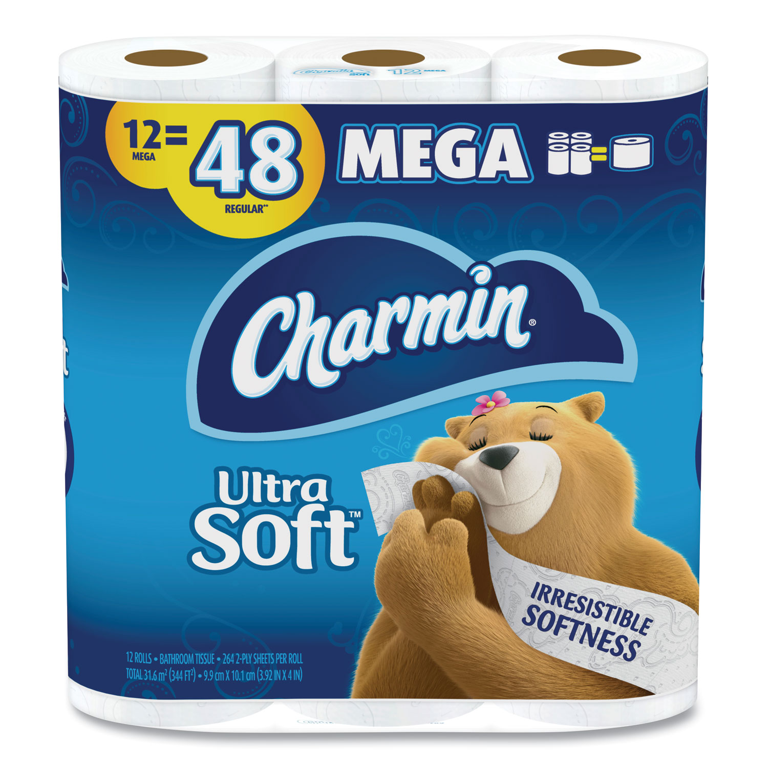 Charmin® Ultra Soft Bathroom Tissue, Septic Safe, 2-Ply, White, 4 x 3.92, 264 Sheets/Roll, 12 Rolls/Pack
