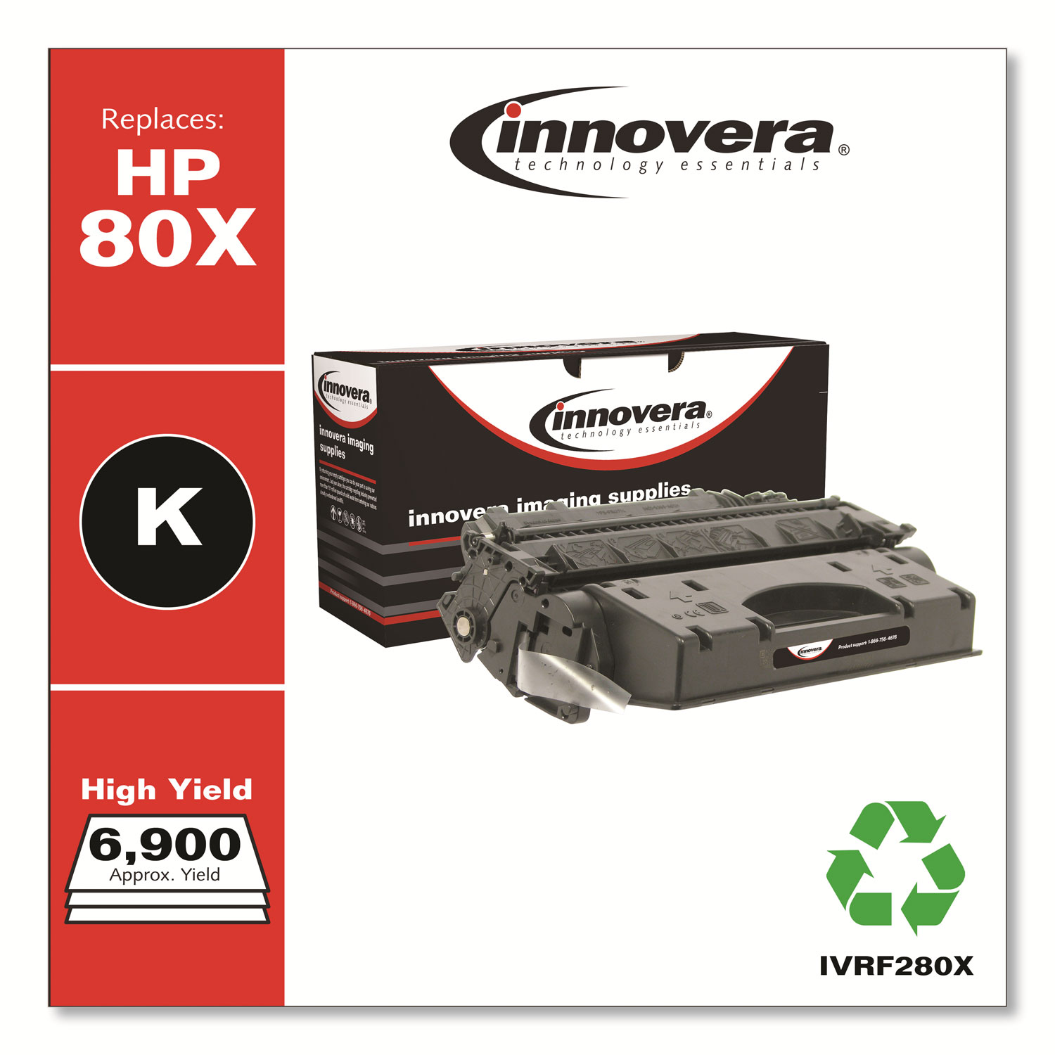 Remanufactured Black High-Yield Toner Cartridge, Replacement for HP 80X (CF280X), 6,900 Page-Yield