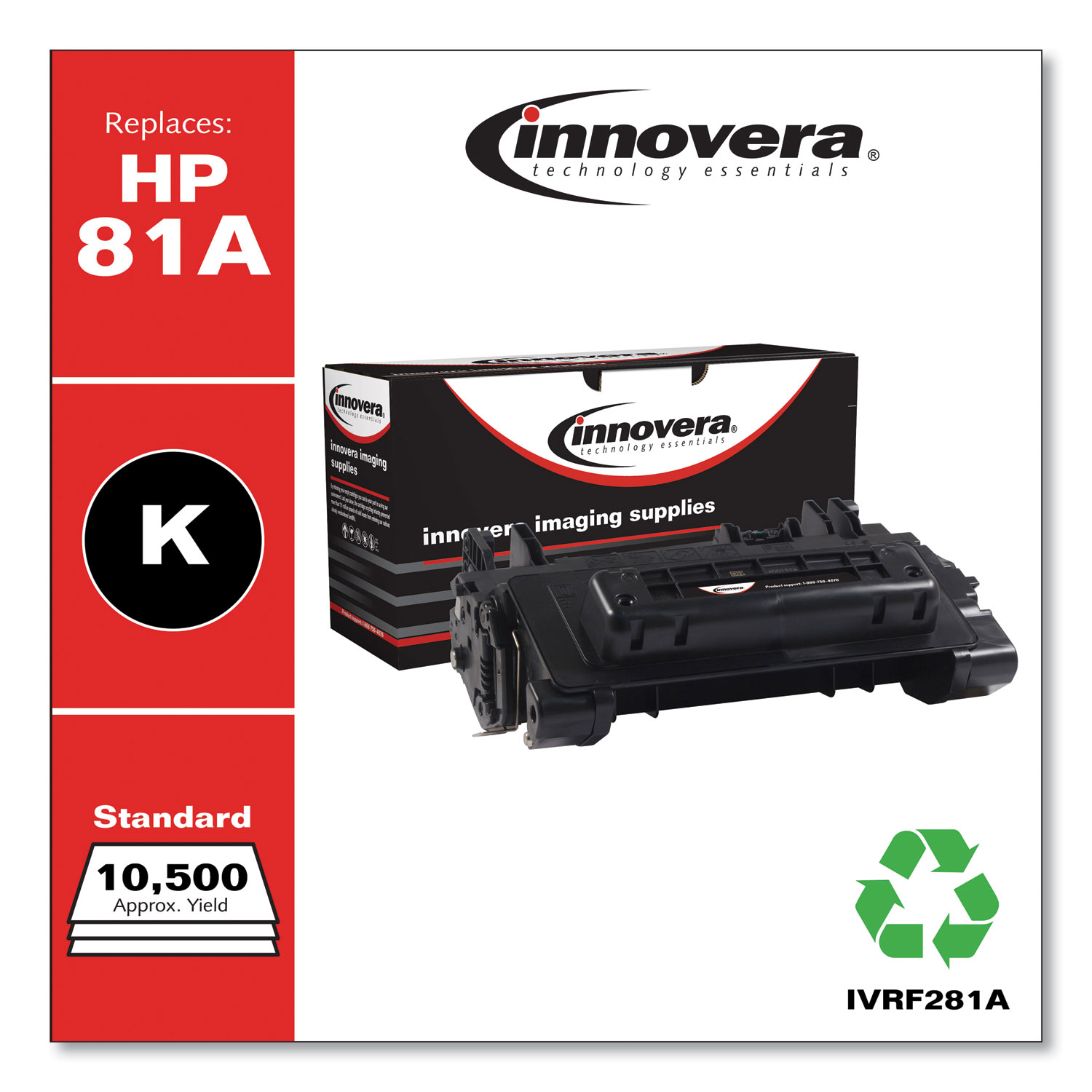 Remanufactured Black Toner Cartridge, Replacement for HP 81A (CF281A), 10,500 Page-Yield