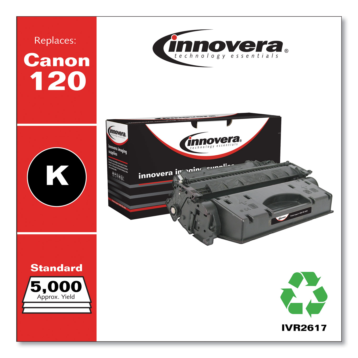 Remanufactured Black Toner Cartridge, Replacement for Canon 120 (2617B001), 5,000 Page-Yield