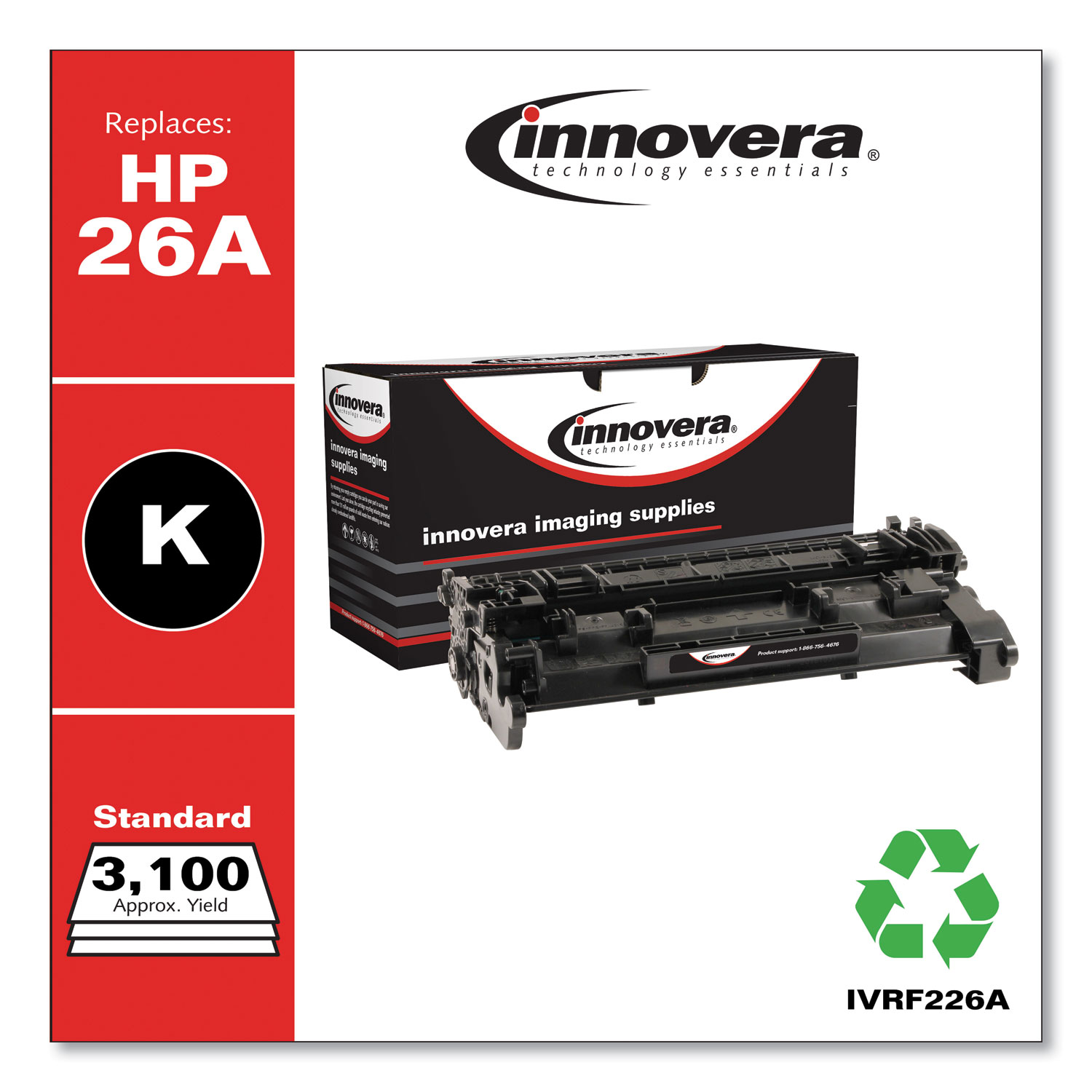 Remanufactured Black Toner Cartridge, Replacement for HP 26A (CF226A), 3,100 Page-Yield