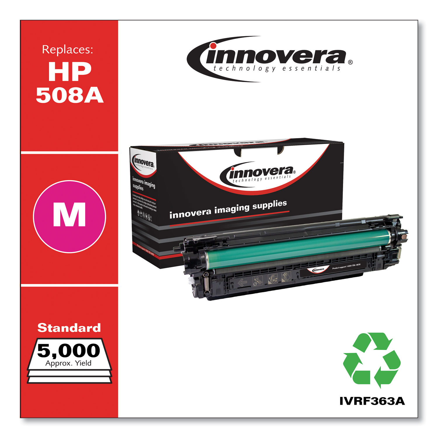 Remanufactured Magenta Toner, Replacement for HP 508A (CF363A), 5,000 Page-Yield IVRF363A