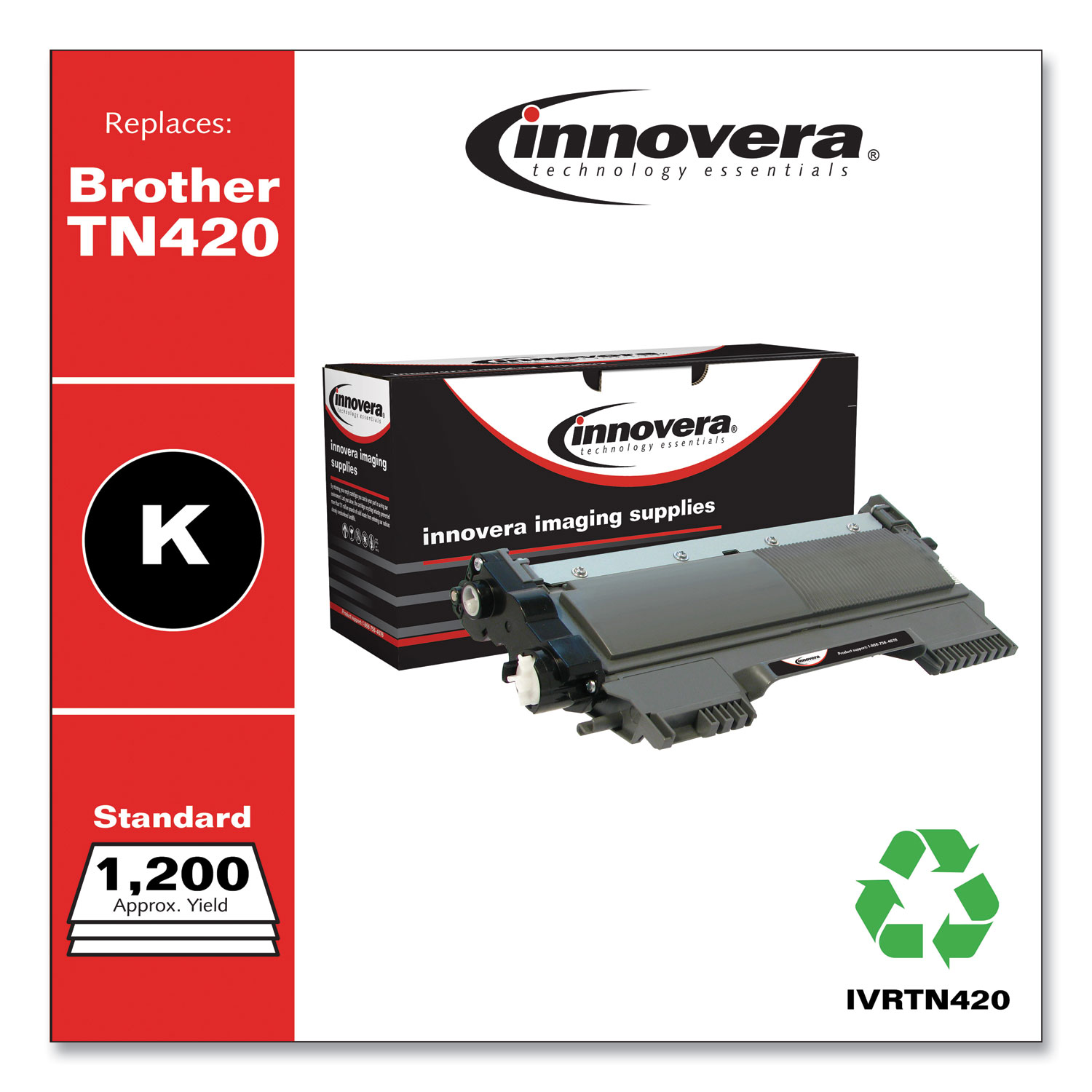 Remanufactured Black Toner Cartridge, Replacement for Brother TN420, 1,200 Page-Yield