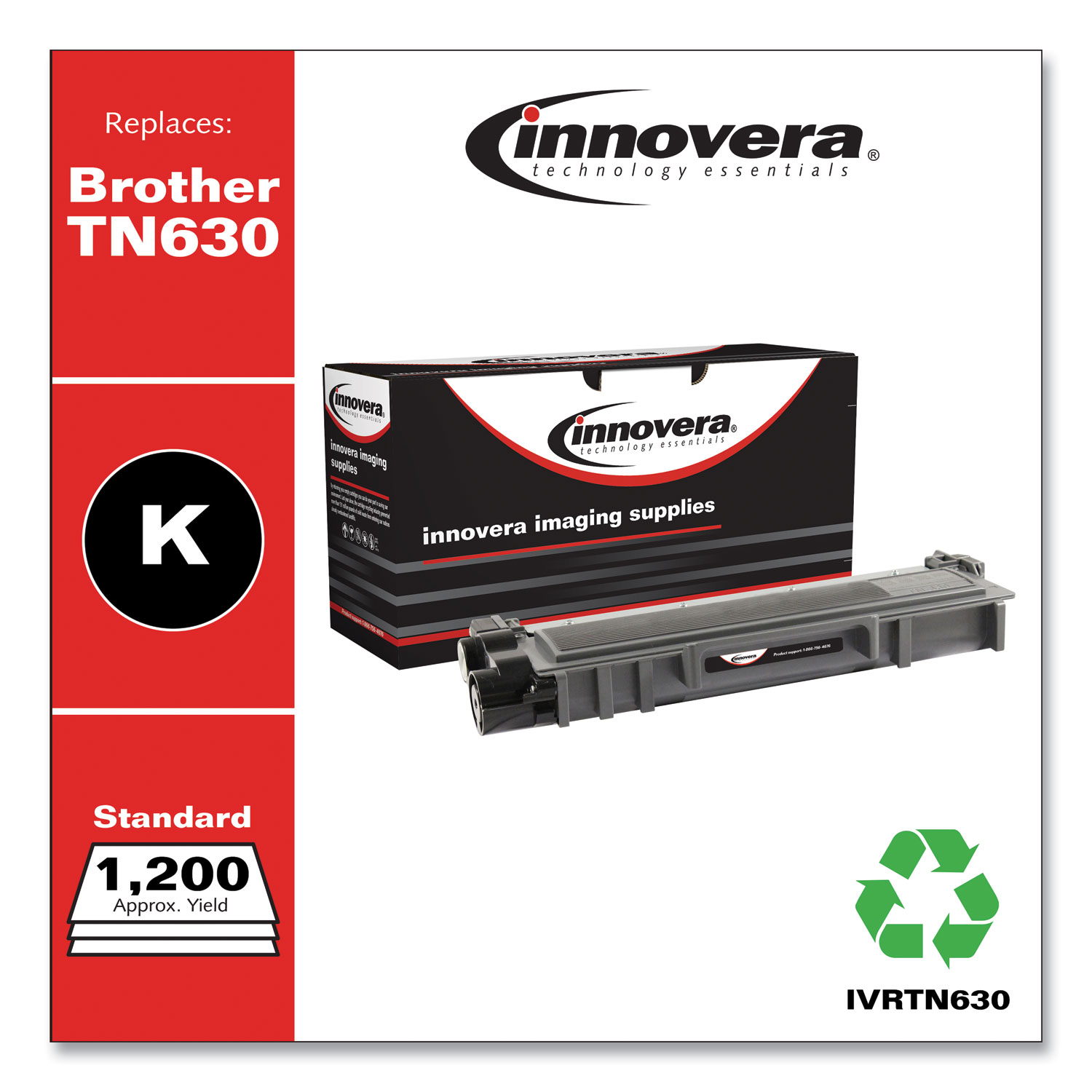 Remanufactured Black Toner Cartridge, Replacement for Brother TN630, 1,200 Page-Yield