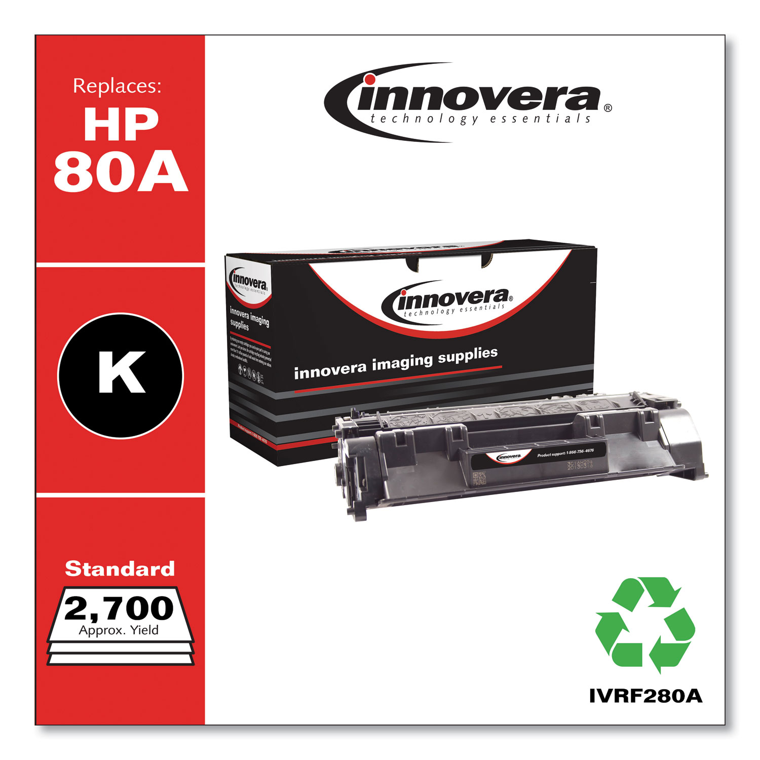Remanufactured Black Toner Cartridge, Replacement for HP 80A (CF280A), 2,700 Page-Yield