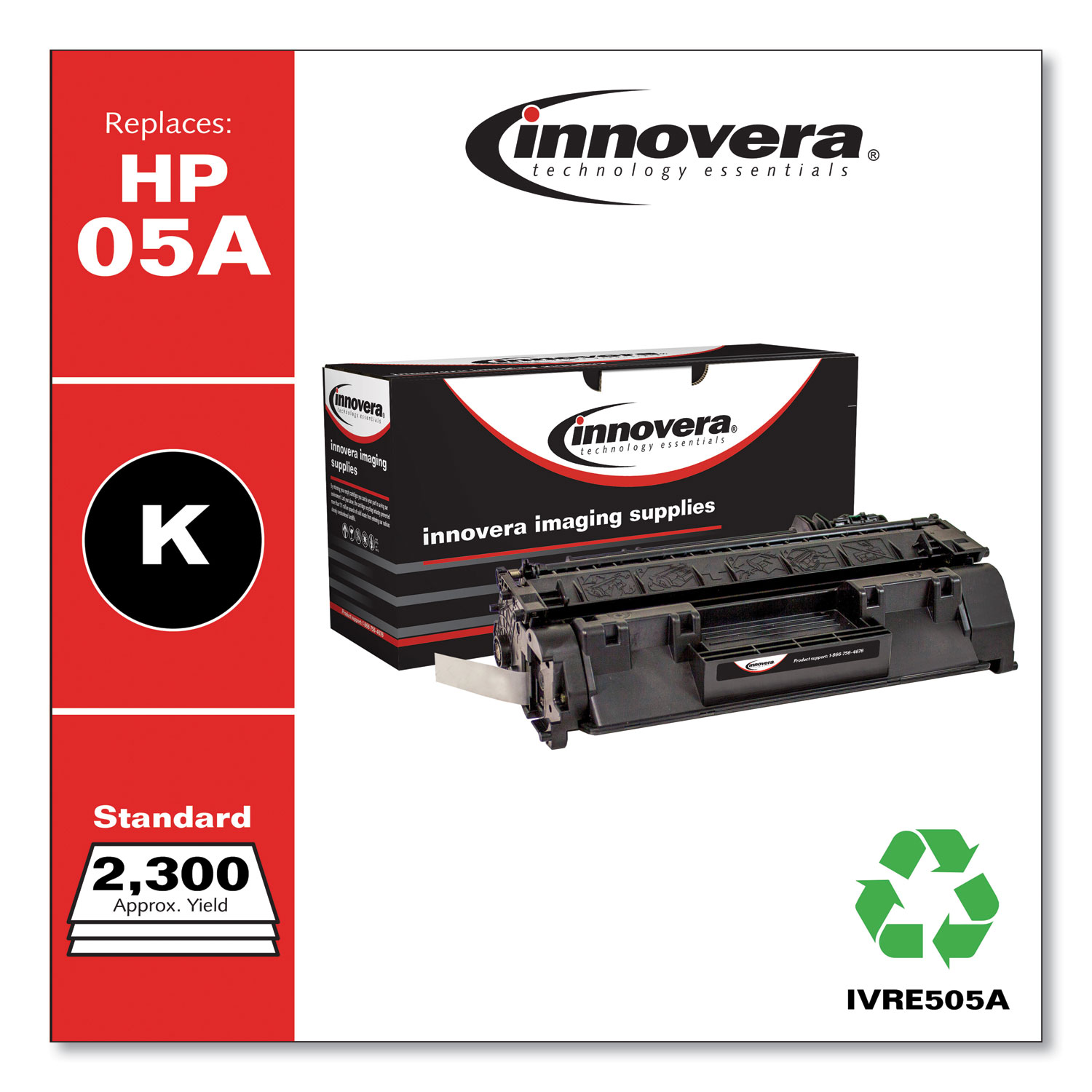 Remanufactured Black Toner Cartridge, Replacement for HP 05A (CE505A), 2,300 Page-Yield