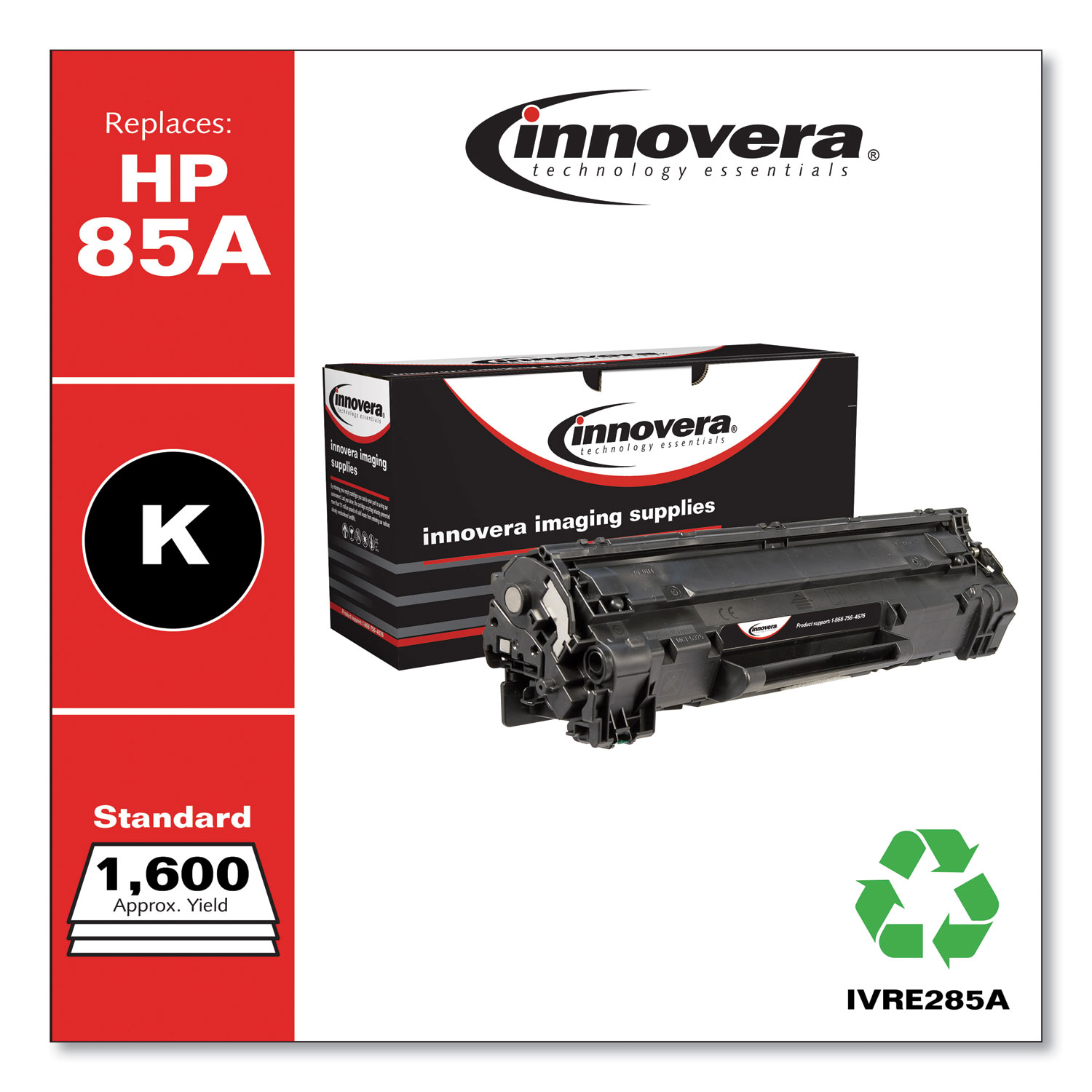 Remanufactured Black Toner Cartridge, Replacement for HP 85A (CE285A), 1,600 Page-Yield