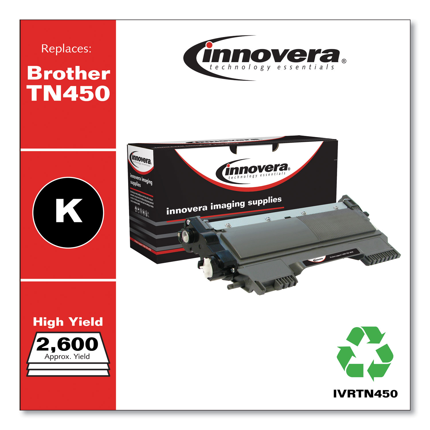 Remanufactured Black High-Yield Toner Cartridge, Replacement for Brother TN450, 2,600 Page-Yield