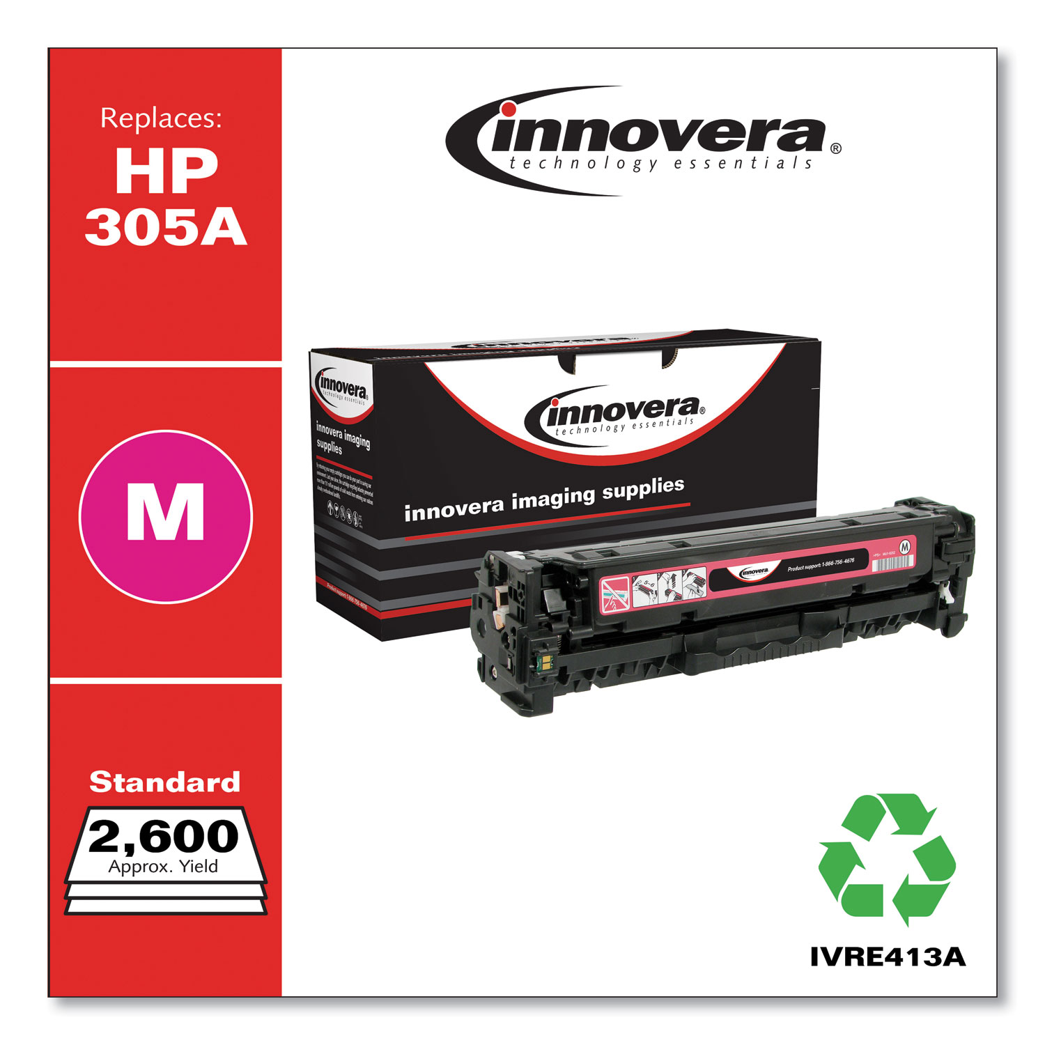 Remanufactured Magenta Toner, Replacement for HP 305A (CE413A), 2,600 Page-Yield IVRE413A