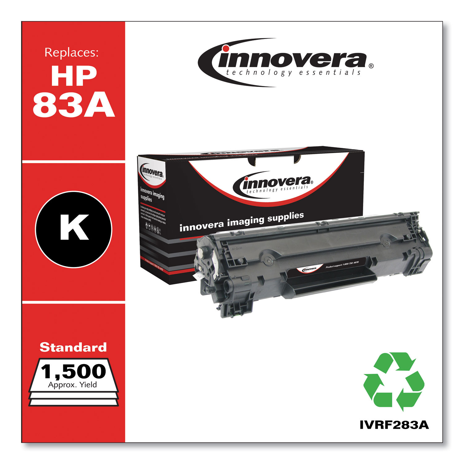 Remanufactured Black Toner Cartridge, Replacement for HP 83A (CF283A), 1,500 Page-Yield