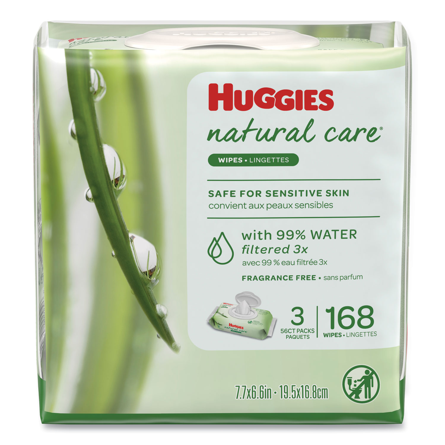 Natural Care Baby Wipes, Unscented, White, 56/Pack, 3-Pack/Box