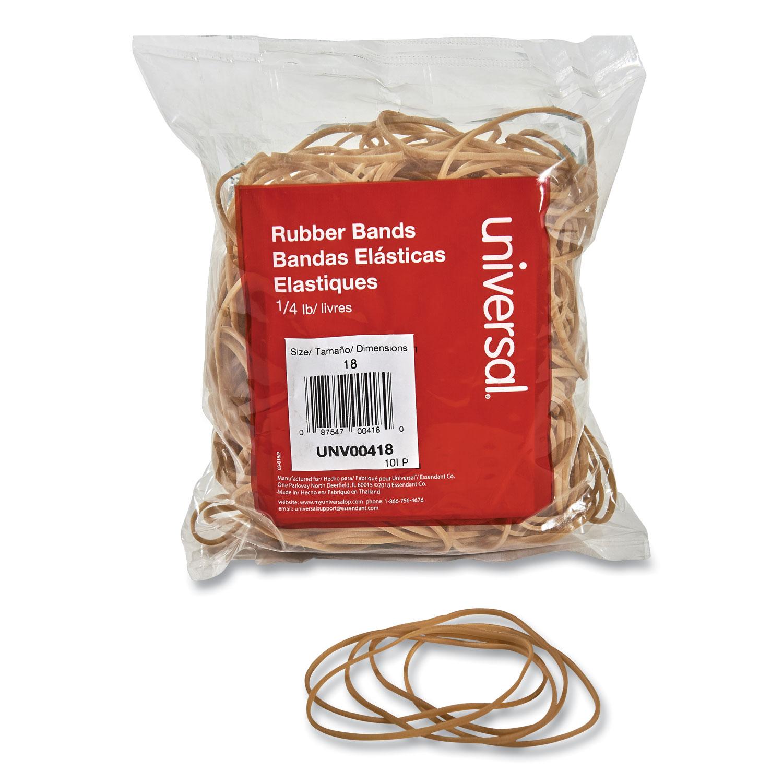 """Rubber Bands, Size 18, 0.04"""" Gauge, Beige, 4 oz Box, 400/Pack"""