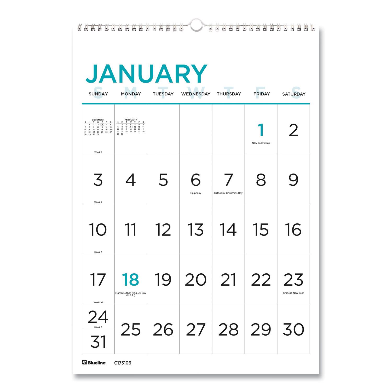 12-Month Large Print Wall Calendar, 12 x 17, White/Blue ...