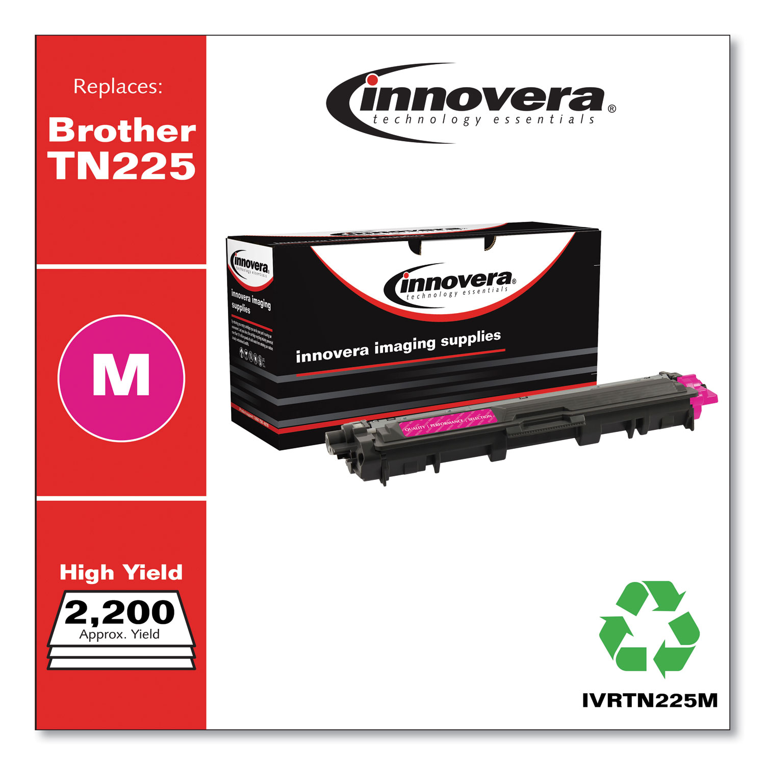 Remanufactured Magenta High-Yield Toner, Replacement for Brother TN225M, 2,200 Page-Yield IVRTN225M