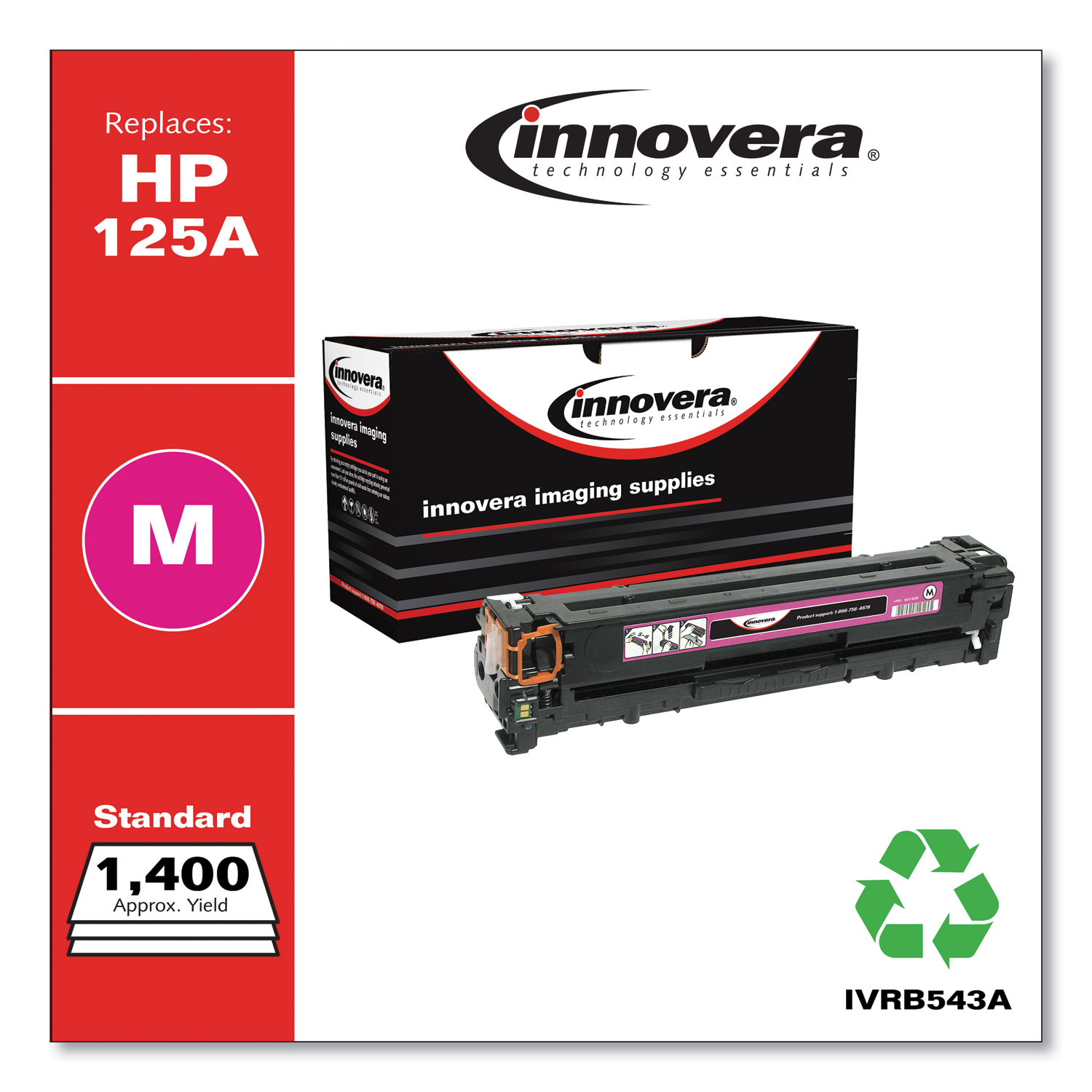 Remanufactured Magenta Toner, Replacement for HP 125A (CB543A), 1,400 Page-Yield IVRB543A