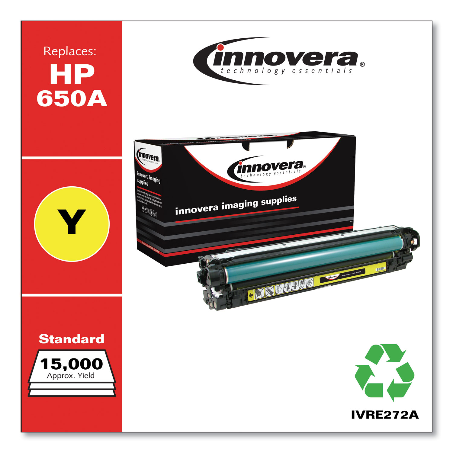 Remanufactured Yellow Toner, Replacement for HP 650A (CE272A), 15,000 Page-Yield IVRE272A