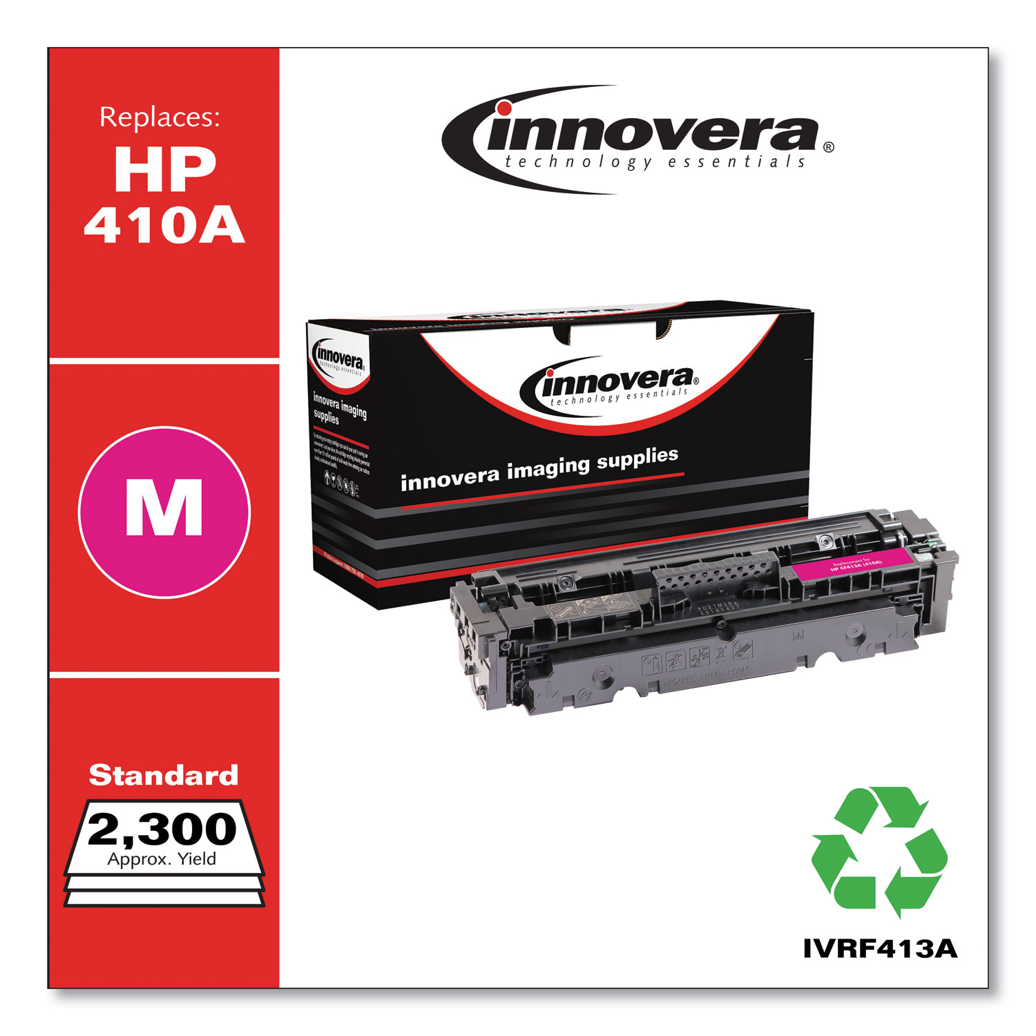 Remanufactured Magenta Toner, Replacement for HP 410A (CF413A), 2,300 Page-Yield IVRF413A