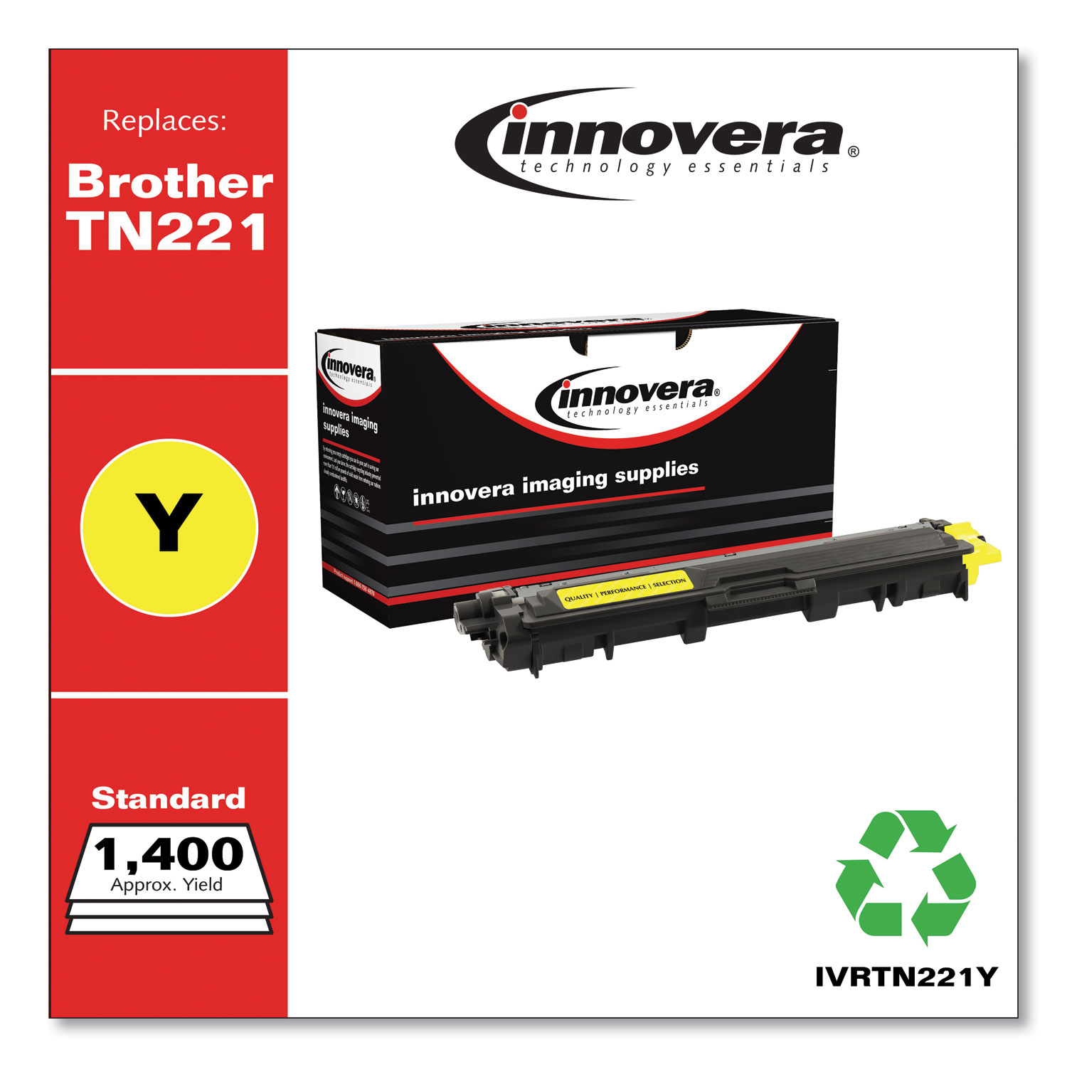 Remanufactured Yellow Toner, Replacement for Brother TN221Y, 1,400 Page-Yield IVRTN221Y