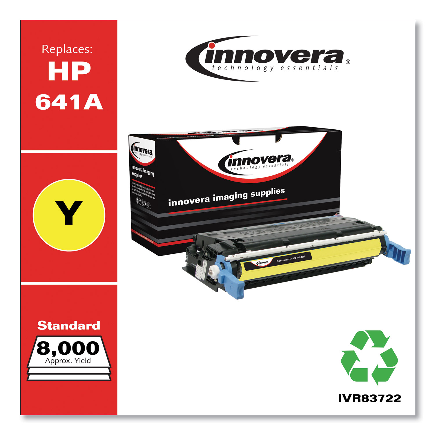 Remanufactured Yellow Toner, Replacement for HP 641A (C9722A), 8,000 Page-Yield IVR83722