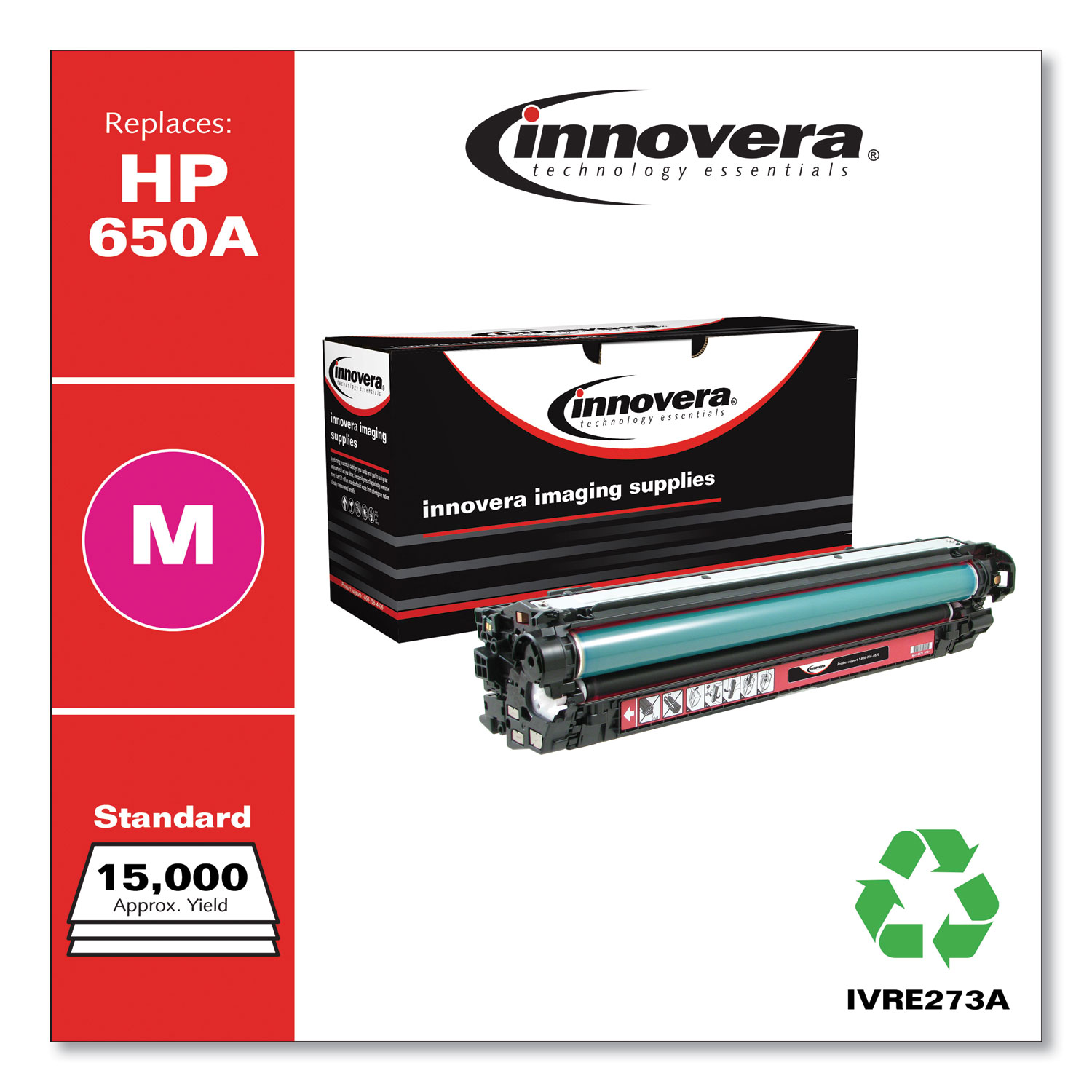 Remanufactured Magenta Toner, Replacement for HP 650A (CE273A), 15,000 Page-Yield IVRE273A