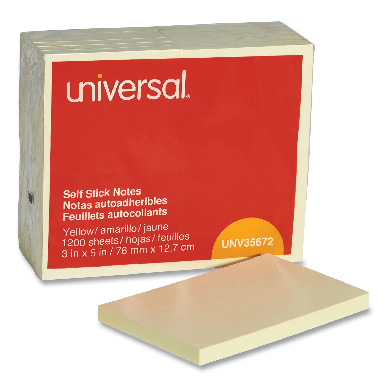 Self-Stick Note Pads, 3 x 5, Yellow, 100-Sheet, 12/Pack