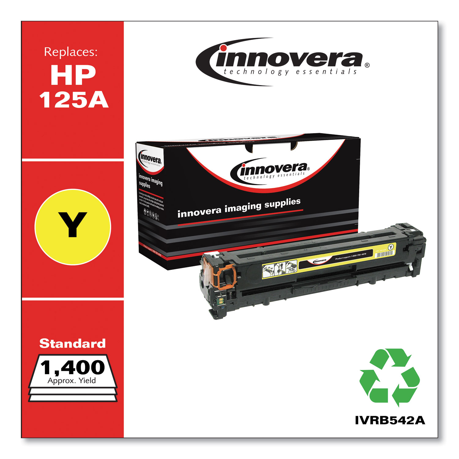 Remanufactured Yellow Toner, Replacement for HP 125A (CB542A), 1,400 Page-Yield IVRB542A