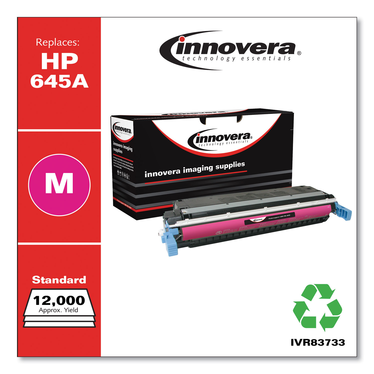 Remanufactured Magenta Toner, Replacement for HP 645A (C9733A), 12,000 Page-Yield IVR83733