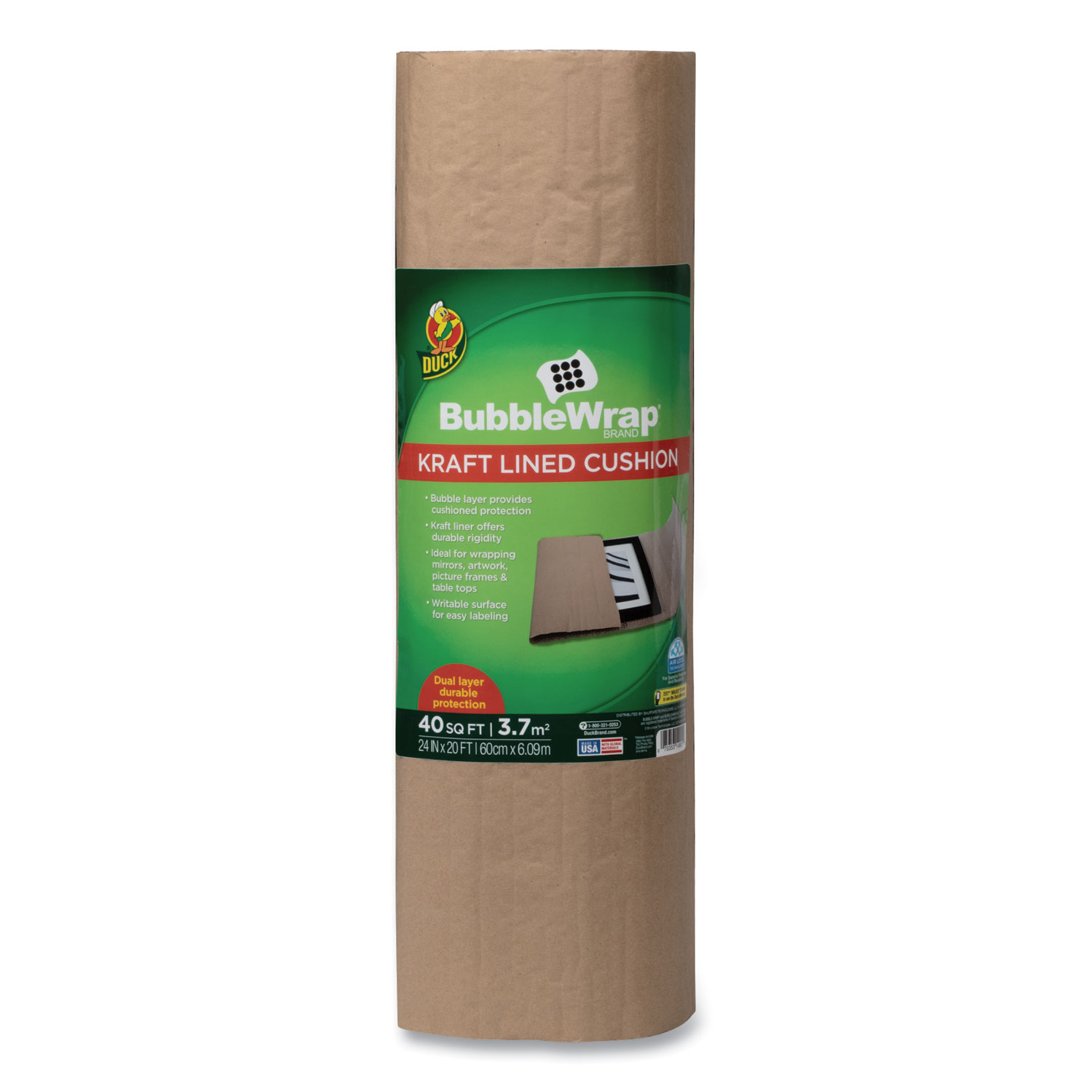 """Kraft Lined Bubble Wrap Cushioning, 0.1"""" Thick, 24"""" x 20 ft"""