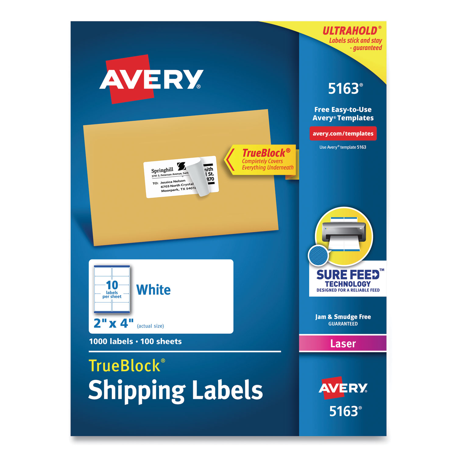 Shipping Labels w/ TrueBlock Technology, Laser Printers, 2 x 4, White, 10/Sheet, 100 Sheets/Box