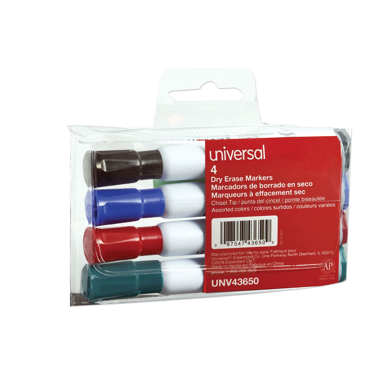 Dry Erase Marker, Broad Chisel Tip, Assorted Colors, 4/Set