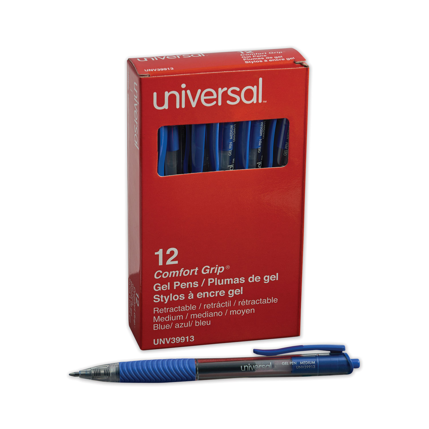 Comfort Grip Retractable Gel Pen, 0.7mm, Blue Ink, Translucent Blue Barrel, Dozen