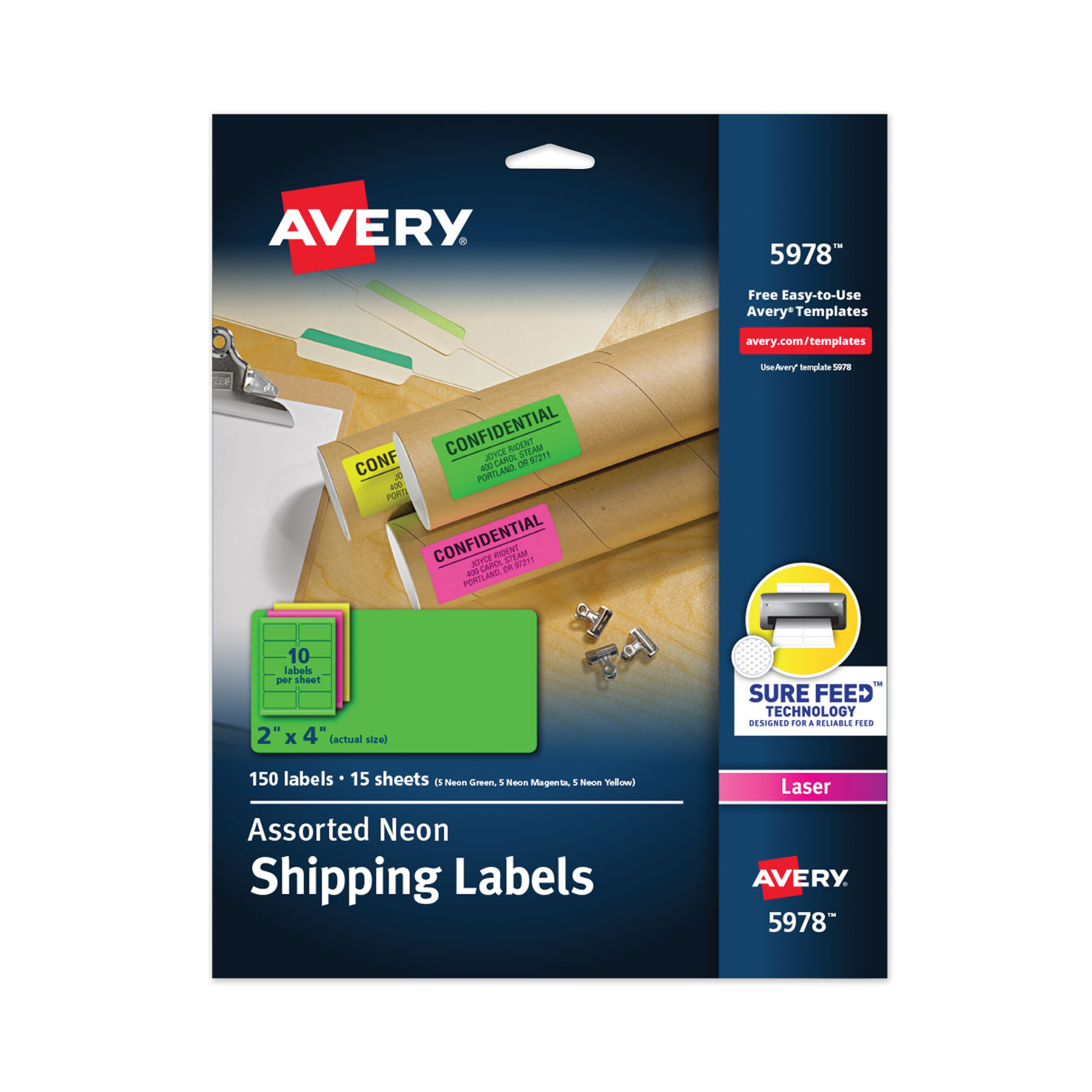 High-Visibility Permanent Laser ID Labels, 2 x 4, Asst. Neon, 150/Pack