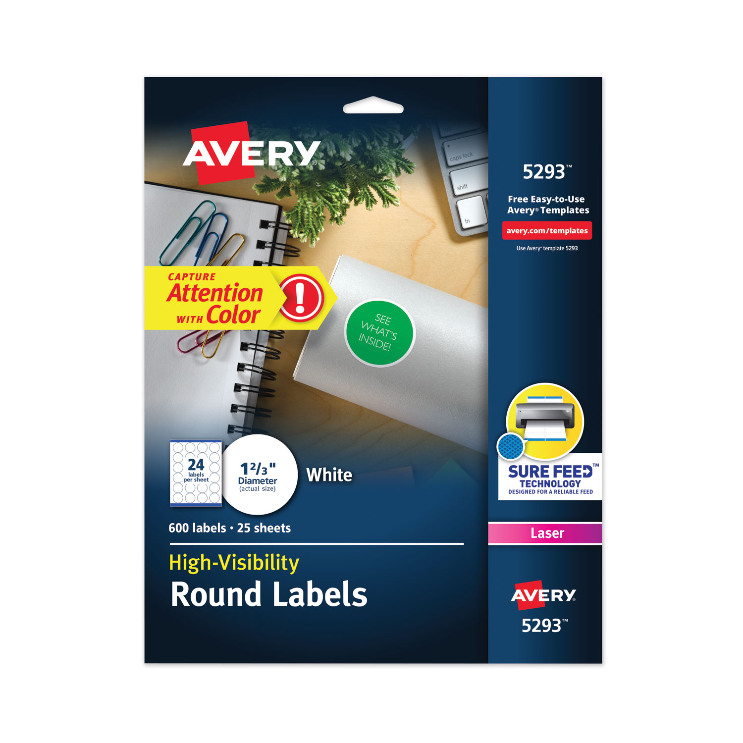 """Permanent Laser Print-to-the-Edge ID Labels w/SureFeed, 1 2/3""""dia, White, 600/PK"""
