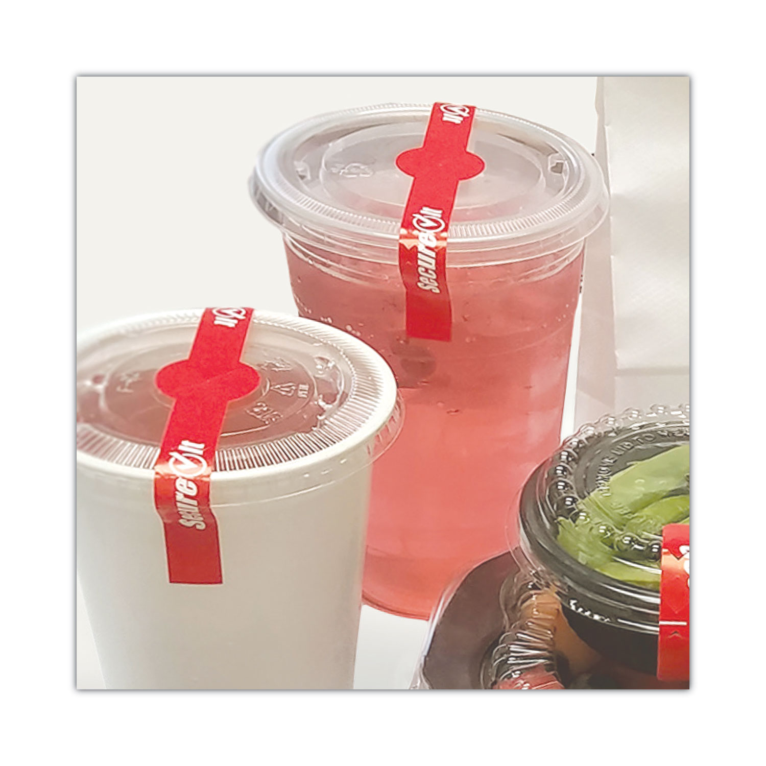 National Checking Company™ SecureIT Tamper Evident Drink Lid Seal, Secure It, 1 x 7, Red, 250/Roll, 2 Rolls/Pack