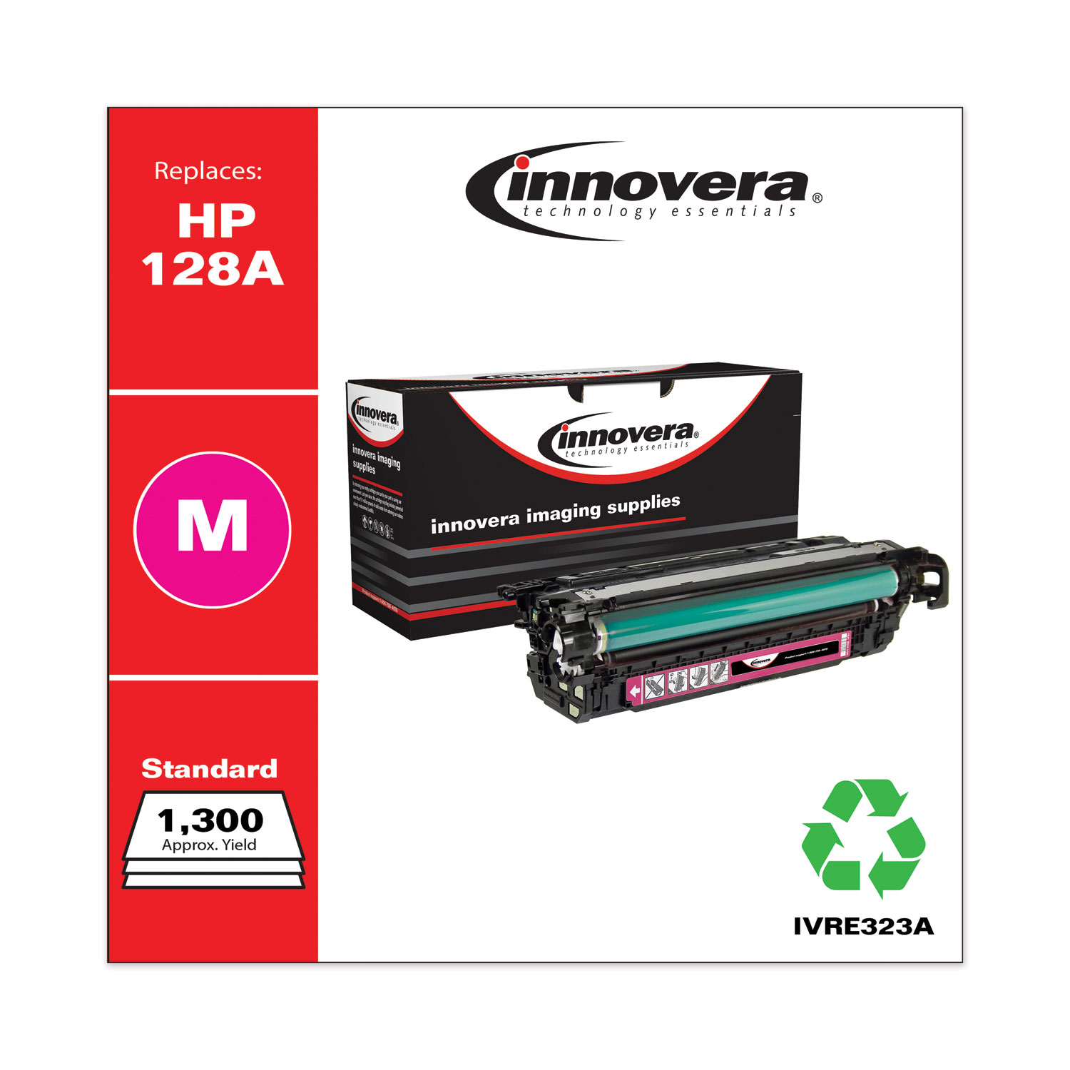 Remanufactured Magenta Toner, Replacement for HP 128A (CE323A), 1,300 Page-Yield IVRE323A