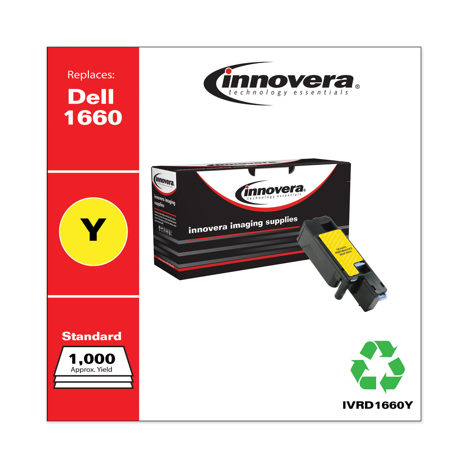 Remanufactured Yellow Toner, Replacement for Dell 1660Y (332-0402), 1,000 Page-Yield IVRD1660Y