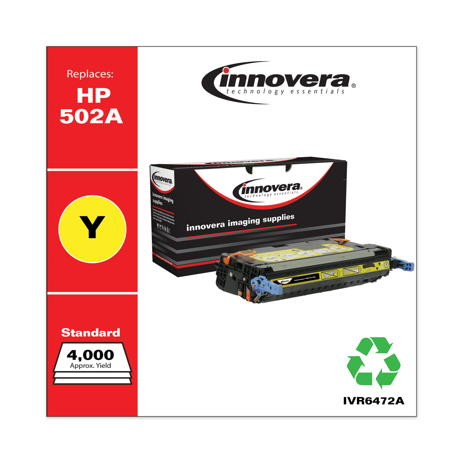 Remanufactured Yellow Toner, Replacement for HP 502A (Q6472A), 4,000 Page-Yield IVR6472A