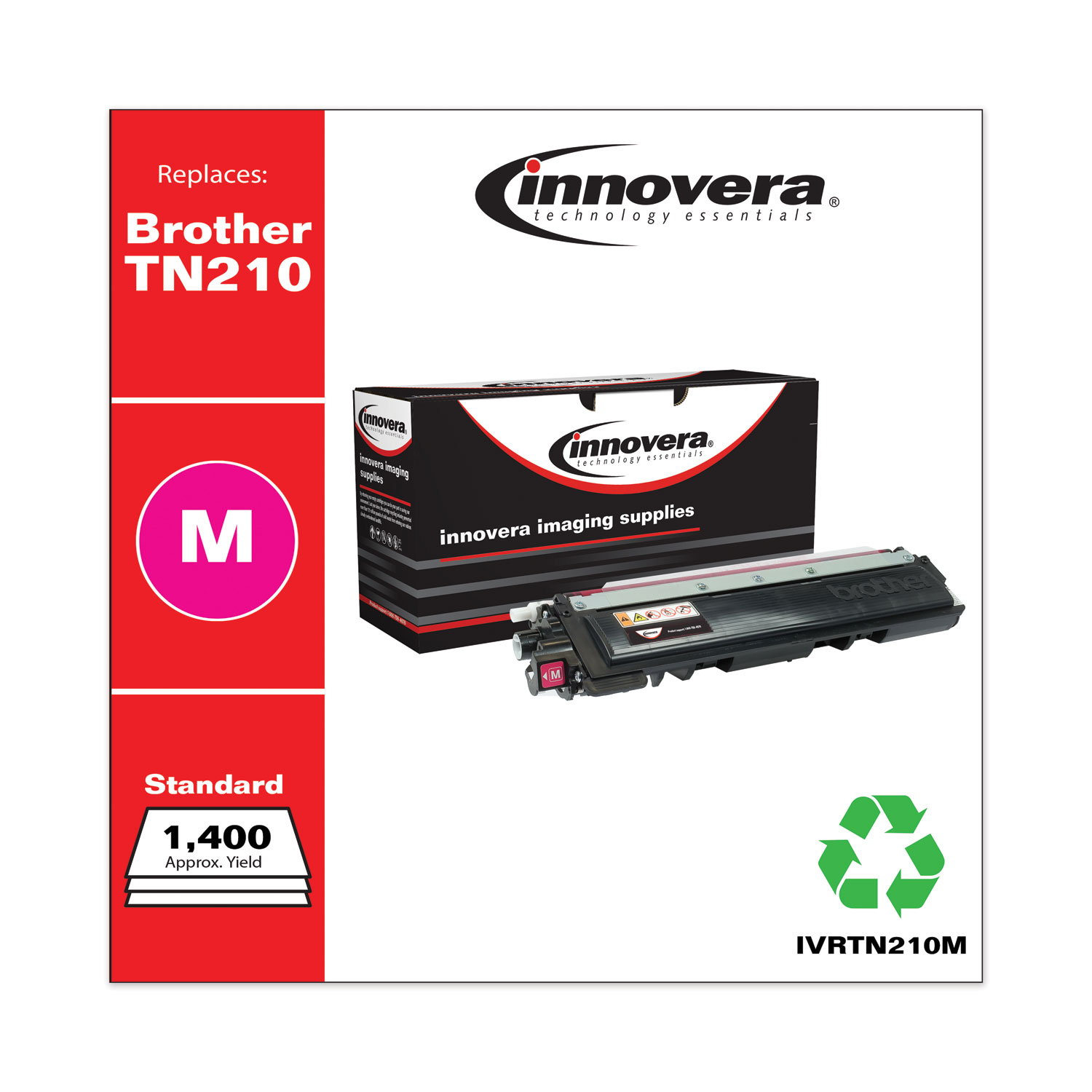 Remanufactured Magenta Toner, Replacement for Brother TN210M, 1,400 Page-Yield IVRTN210M