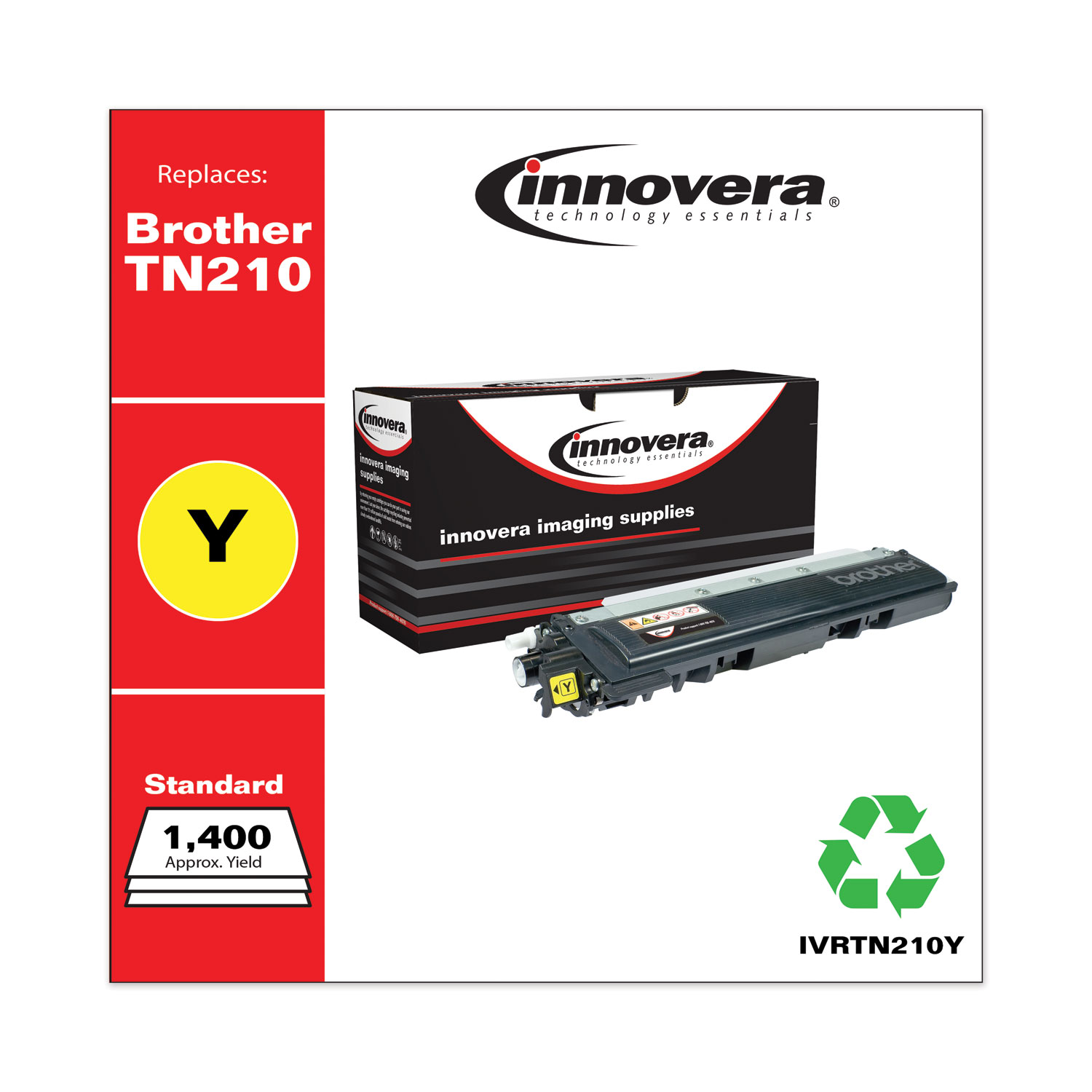Remanufactured Yellow Toner, Replacement for Brother TN210Y, 1,400 Page-Yield IVRTN210Y