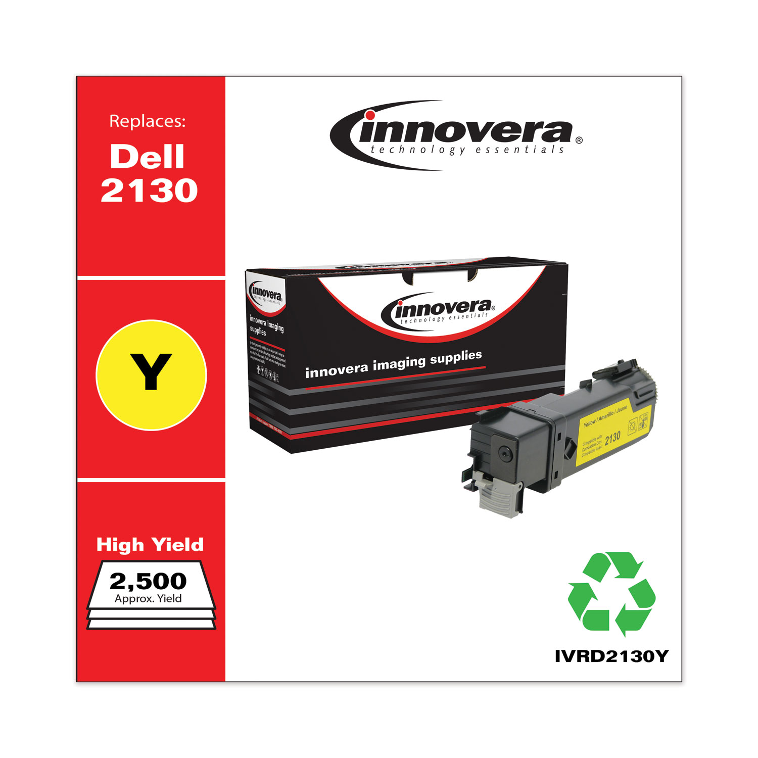 Remanufactured Yellow High-Yield Toner, Replacement for Dell 2130 (330-1438), 2,500 Page-Yield IVRD2130Y