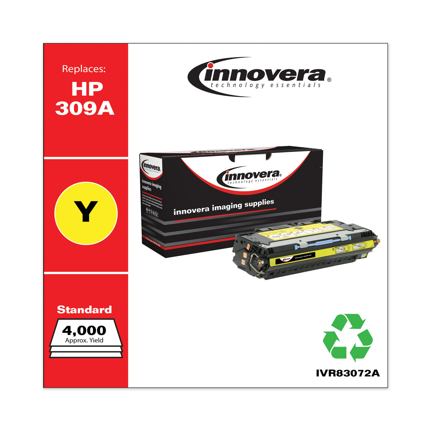 Remanufactured Yellow Toner, Replacement for HP 309A (Q2672A), 4,000 Page-Yield IVR83072A