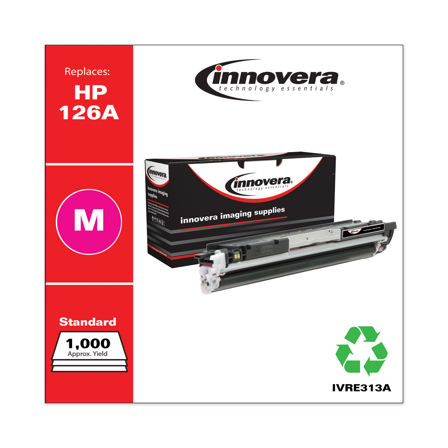 Remanufactured Magenta Toner, Replacement for HP 126A (CE313A), 1,000 Page-Yield IVRE313A