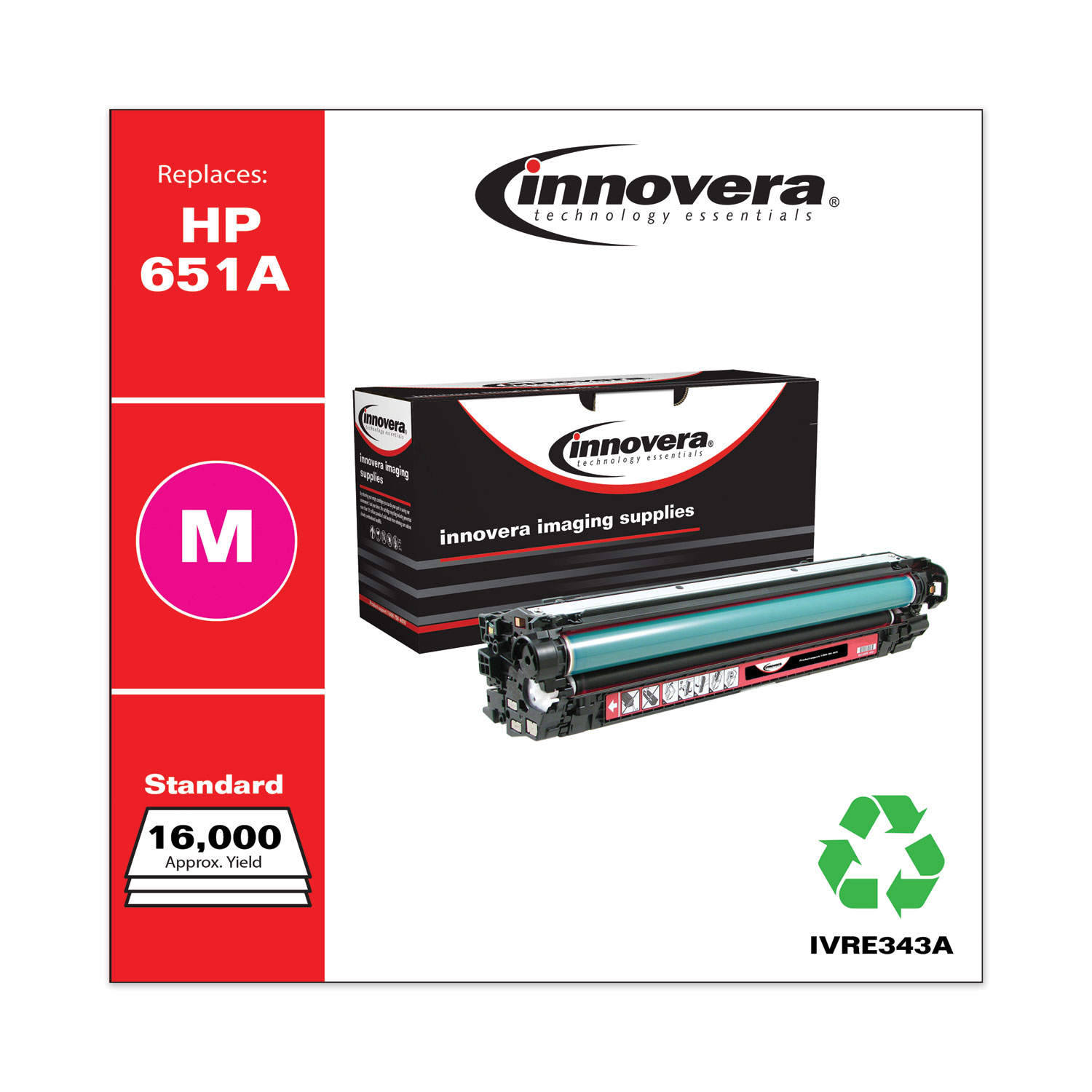 Remanufactured Magenta Toner, Replacement for HP 651A (CE343A), 13,500 Page-Yield IVRE343A