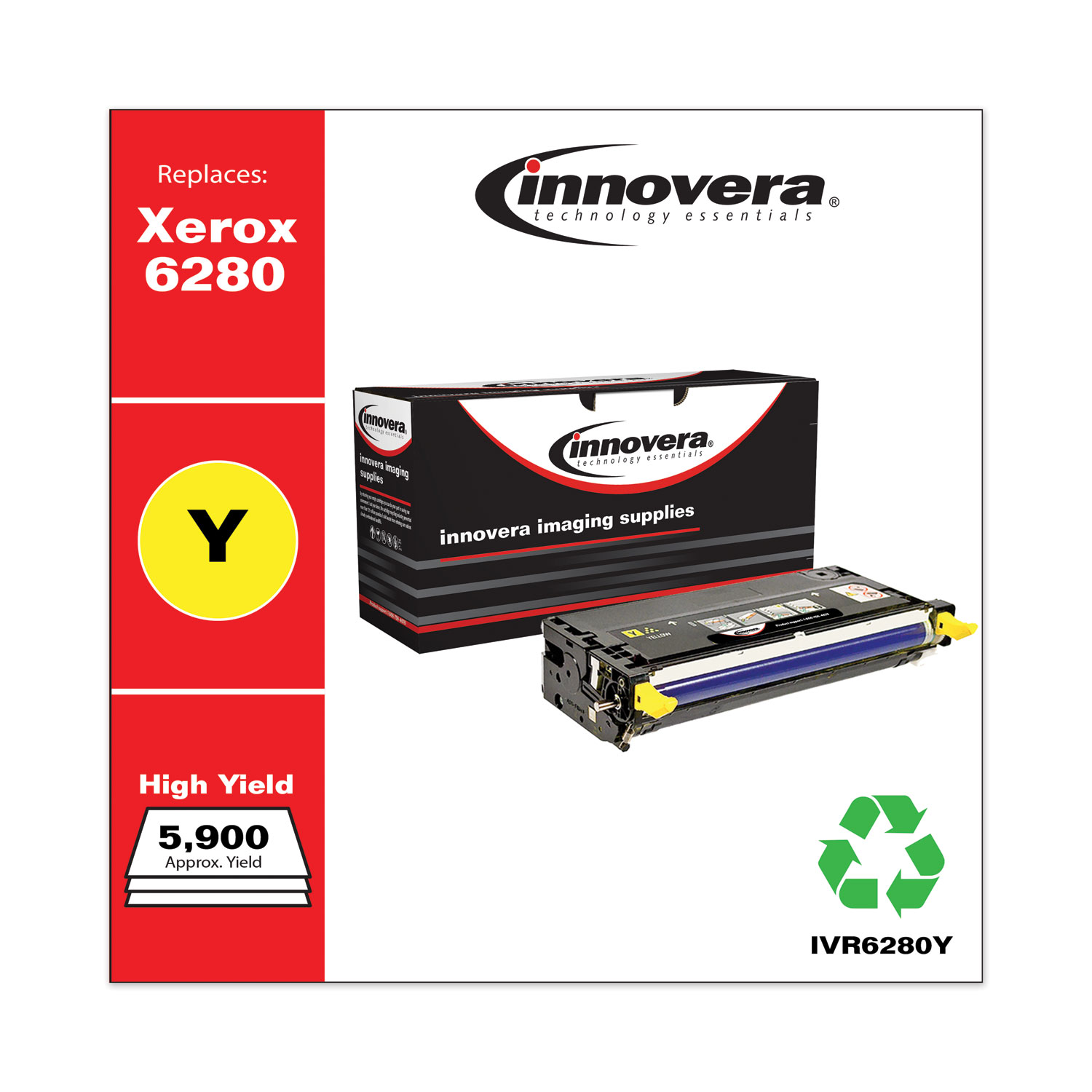Remanufactured Yellow High-Yield Toner, Replacement for Xerox 106R01394, 5,900 Page-Yield IVR6280Y