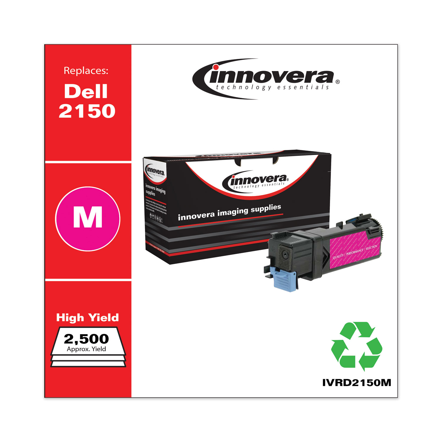 Remanufactured Magenta High-Yield Toner, Replacement for Dell 2150 (331-0717), 2,500 Page-Yield IVRD2150M