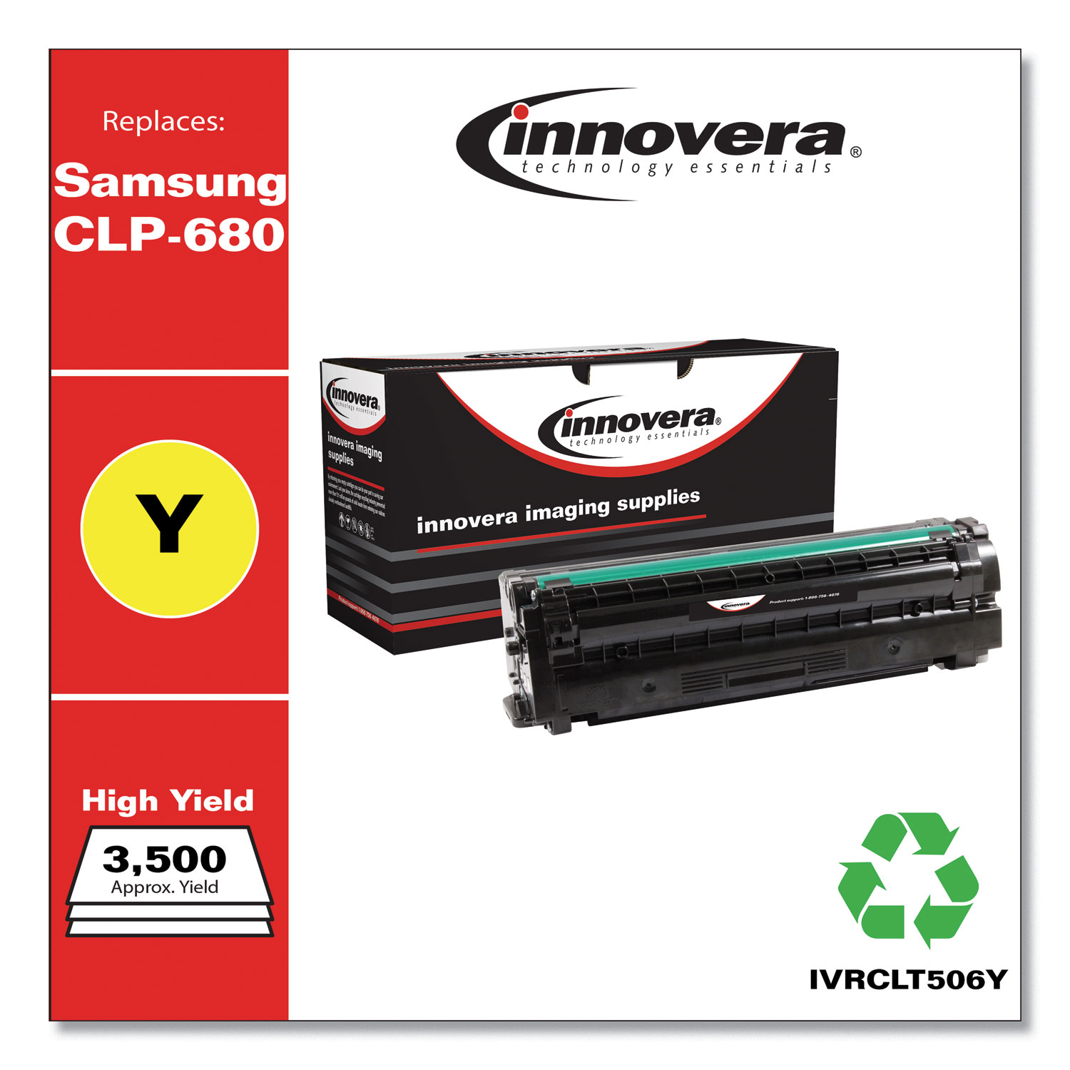 Remanufactured Yellow High-Yield Toner, Replacement for Samsung CLT-506 (CLT-Y506L), 3,500 Page-Yield IVRCLT506Y