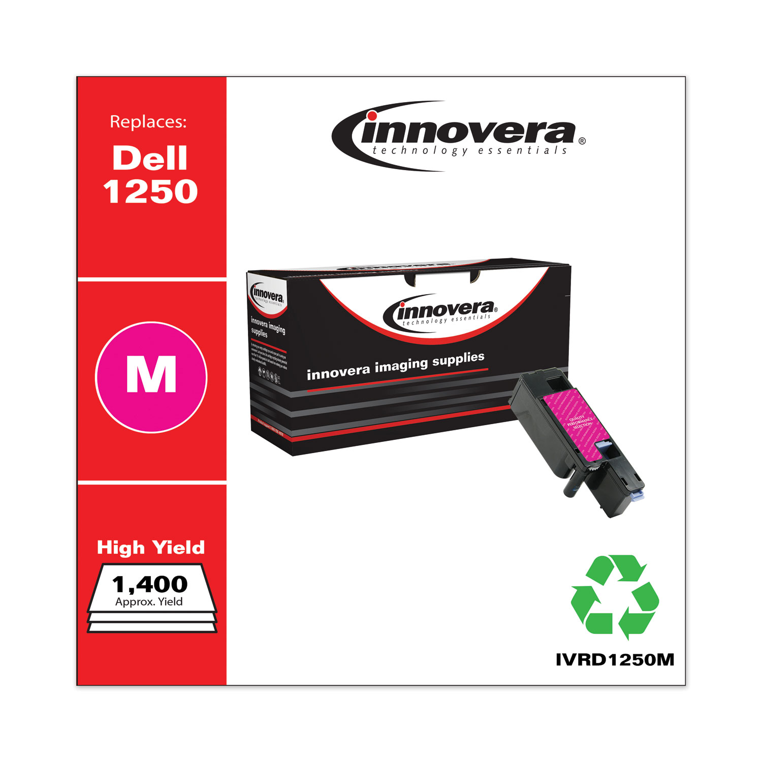 Remanufactured Magenta High-Yield Toner, Replacement for Dell 1250 (331-0780), 1,400 Page-Yield IVRD1250M
