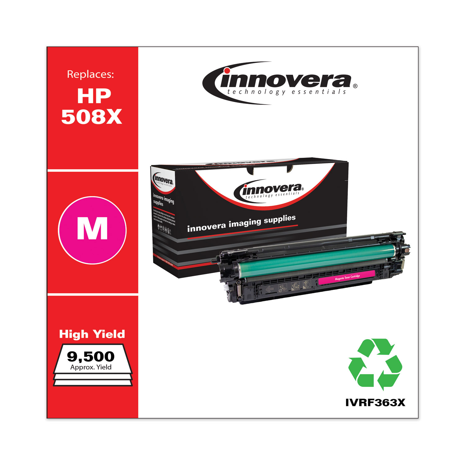 Remanufactured Magenta High-Yield Toner, Replacement for HP 508X (CF363X), 9,500 Page-Yield IVRF363X