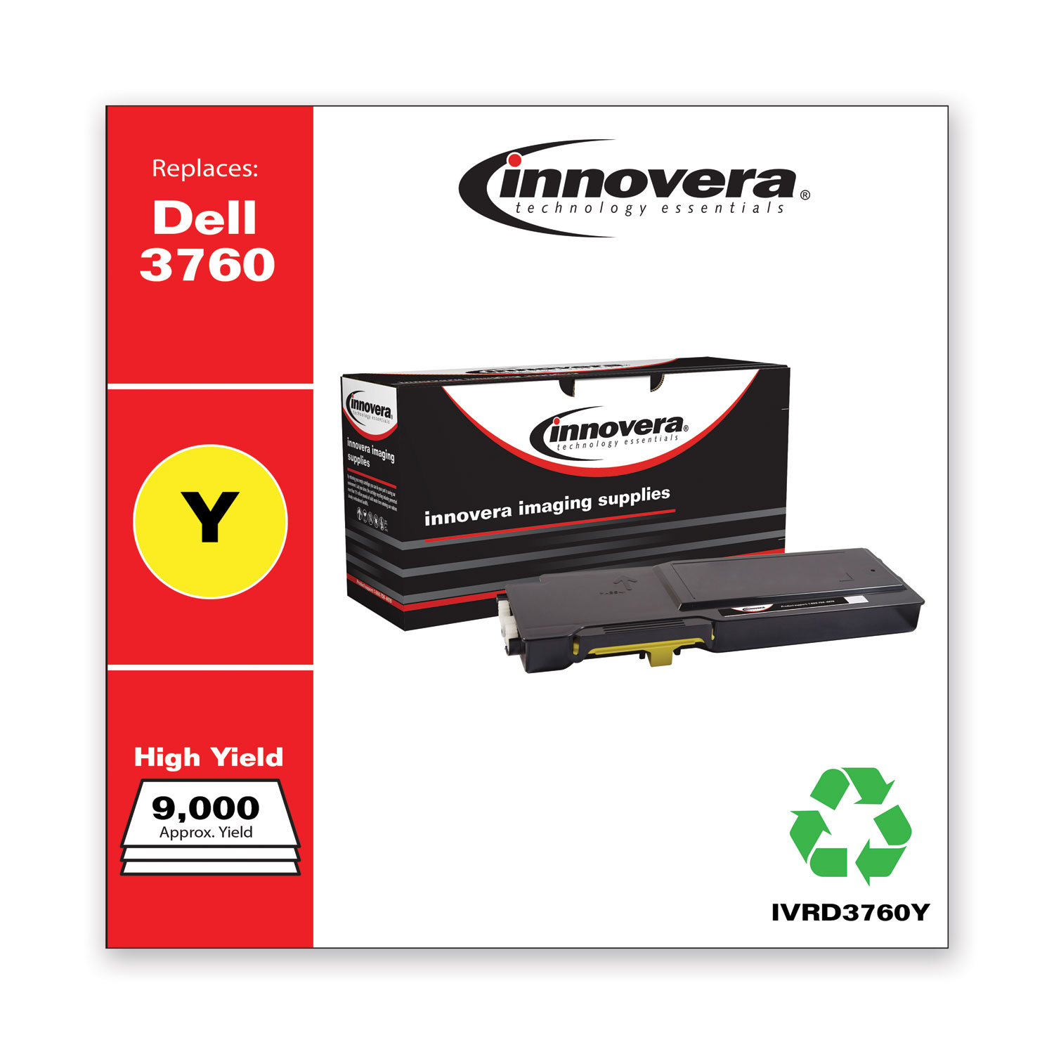 Remanufactured Yellow Toner, Replacement for Dell C3760 (331-8430), 9,000 Page-Yield IVRD3760Y